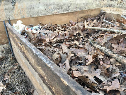 Picture of raised garden bed full of leaves and newspaper.